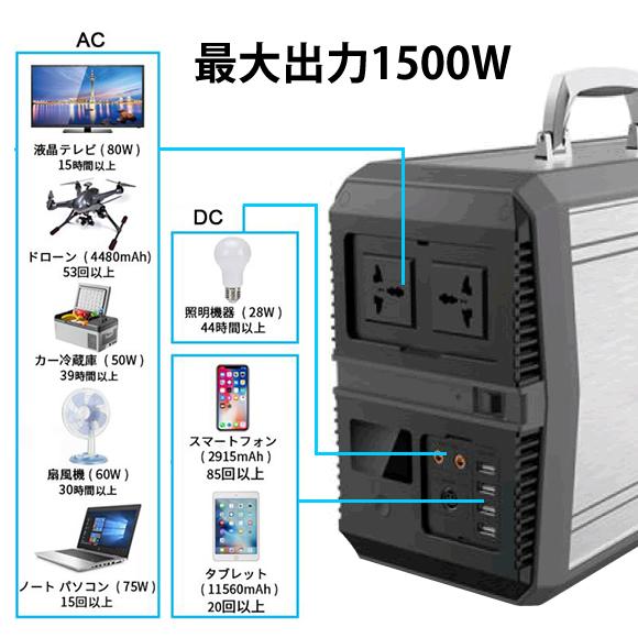 1500w ポータブル 電源